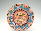 """Redware Rim Plate Hand Painted 7-1/2"""" Colorful Designs Bohemian Mandala Dinnerware"""