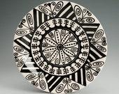 """Mandala Plate Hand Painted Black and White Bohemian - 8"""" Dinnerware"""