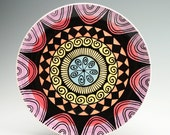 Ready To Hang Rainbow Plate Hand Painted Bohemian Mandala Art Serving / Personal Dinnerware