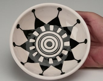 Small Ceramic Bowl, Jewelry Dish, Small Ceramic Dish, Dipping Bowl, Black and White Urban Design