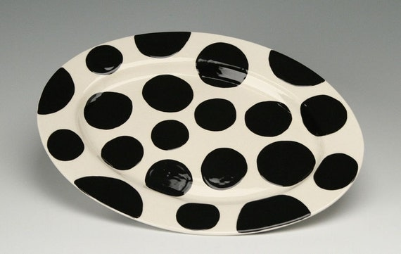Polka Dots On My Platter Plate Hand Painted Dinnerware