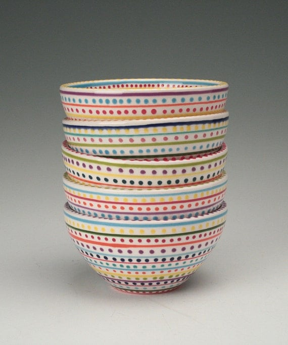 Stripes and Dots Hand Painted Bowl Multicolor Dinnerware