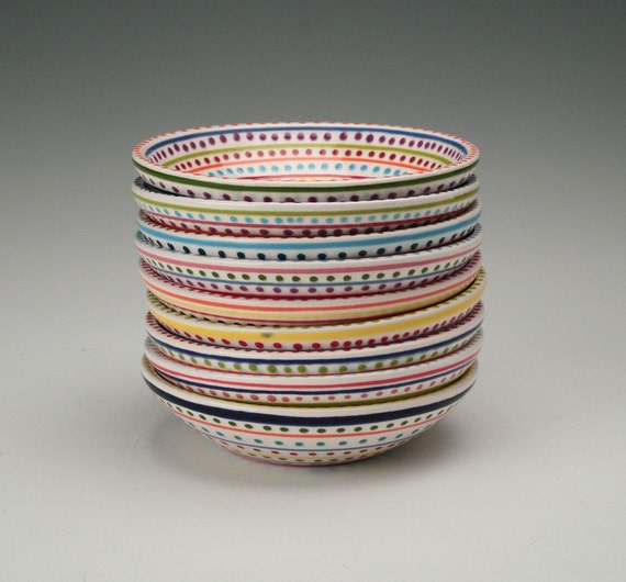 Stripes and Dots Bowl Small Hand Painted