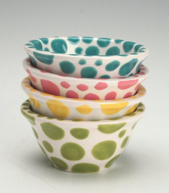 Polka Dot Bowl Small Yellow Hand Painted Kitchen Dinnerware