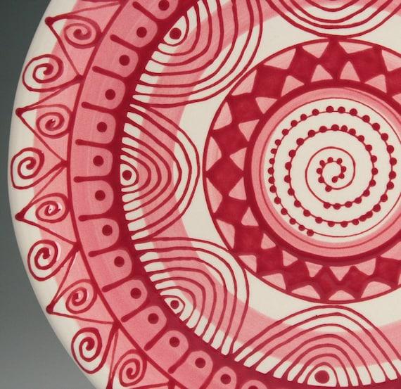 Mandala Platter Pink, Red, and White Hand Painted Bohemian Dinnerware