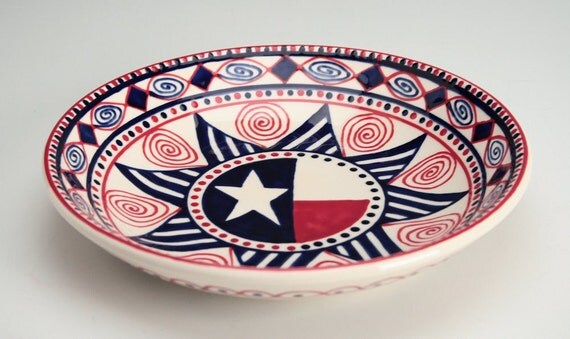 "Pasta Bowl Americana - 9"" Hand Painted Serving and Personal Bowl Dinnerware"