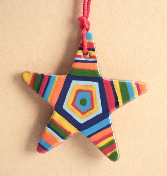 Red Clay Star Ornament Two-Sided Decoration Stripes Dots Curves