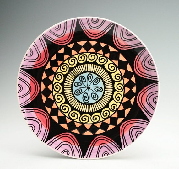 Ready To Hang Rainbow Plate Hand Painted Bohemian Mandala Art Serving / Personal Dinnerware