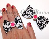 BLING Bow Ring by UGBcouture - Damask Black White Hot Pink - fabric ring - Bow ring - Rhinestone