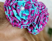 POSER couture - Teal HOT Pink fabric flower Headband - Hairclip - INTERCHANGEABLE - Damask Teal Hot Pink - Spring Summer - photo prop