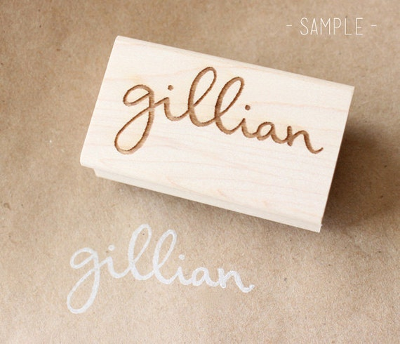 custom / personalized name wooden rubber stamp
