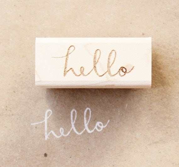 cursive hello wooden rubber stamp