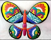 Butterfly Metal Wall Hanging - Metal Art, Hand Painted Metal Art Butterfly Wall Decor- Outdoor Garden Art - Tropical Design - M901-OR-17
