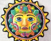 "Sun - Hand Painted Metal Art - 17"" Sun Wall Hanging - Recycled Haitian Steel Drum Garden Art - Outdoor Metal Wall Art - M-100-BK-17"
