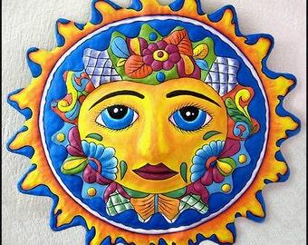 "Hand Painted Metal Wall Hanging - Metal Art Sun, Tropical Decor, Metal Wall Art, Recycled Haitian Steel Drum Garden Art - 17"" -  M-100-BL-17"