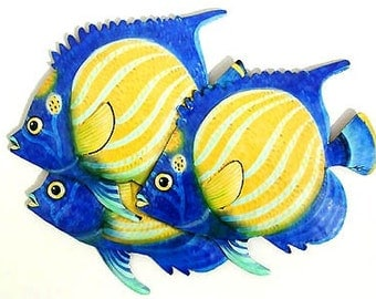 Tropical Fish, Metal Art Wall Hanging - Hand Painted Garden Decor - Tropical Wall Decor - Haitian Steel Drum Art - Metal Wall Art - 191