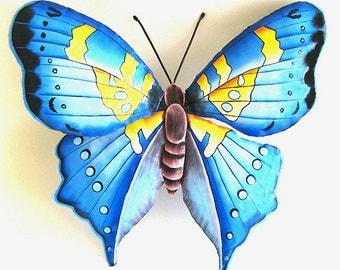 Butterfly Metal Wall Decor, Painted Metal Butterfly Wall Hanging, Garden Metal Art, Haitian Steel Drum Art, Metal Wall Art - BU-513-L-BL