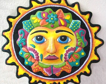 "Metal Sun - Hand Painted Metal Art 24"" Wall Hanging, Recycled Haitian Steel Drum, Garden Art -  Outdoor Metal Wall Art - M-100-BK-24"