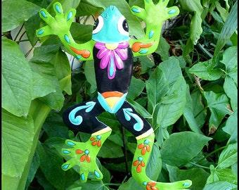 Outdoor Garden Art - Painted Metal Frog, Plant Stake - Yard Art, Plant Stick, Garden Decor - Outdoor Metal Art - Haitian art, PS-703-GR