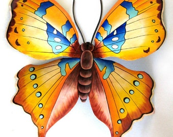 """Butterfly Metal Wall Decor, 40"""" Painted Butterfly, Tropical Garden Art, Tropical Home Decor, Metal Art - Recycled Steel Drums - 513-40-GL"""