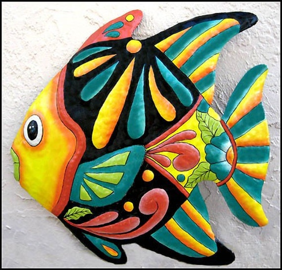 Tropical fish metal wall hanging haitian hand painted metal for Metal fish art wall decor