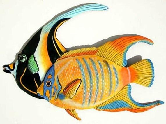 Metal Wall Art - Tropical Fish Wall Hanging in Painted Metal - Moorish Idol & Queen Angelfish - Metal Art - Recycled Steel Oil Drum - 187