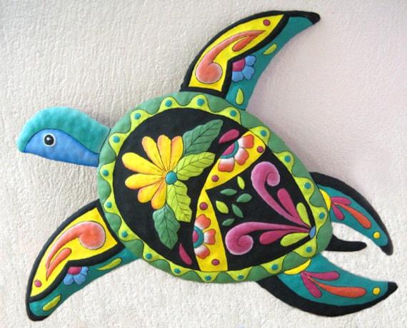 "Hand Painted Metal Garden Art - Decorative Turtle Wall Hanging  - Haitian Steel Drum Metal Art - Tropical Home Decor - 34"" - M-850-TQ-34"