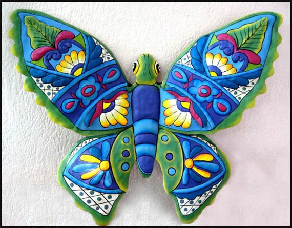 Butterfly wall decor 24 painted metal butterfly outdoor for Outdoor butterfly decor