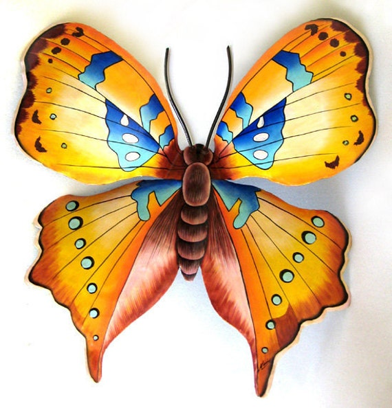 "Butterfly Metal Wall Decor- 40"" Hand Painted Butterfly Tropical Garden Art -  Handcrafted Metal Art - Recycled Steel Drums - 513-40-GL"