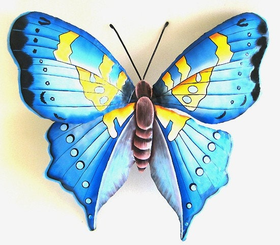 butterfly metal wall decor painted metal butterfly wall. Black Bedroom Furniture Sets. Home Design Ideas