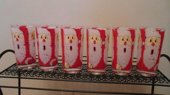 Vintage Mid Century Santa Claus Beard Beverage Drinking Glasses