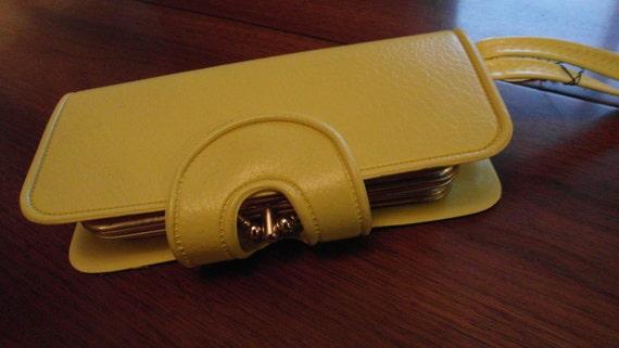 Vintage Yellow Wristlet Clutch Wallet