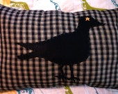SALE Primitive Crow Plaid Pillow