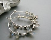 Labradorite Pyrite Silver Hoop Earrings, Sterling Silver Wire Wrapped, Gemstone, Black, Gray, Silver, Neutral