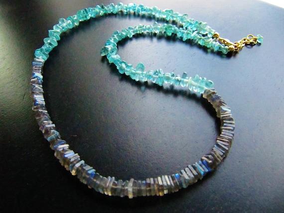 Apatite and Labradorite Gemstone Beaded Necklace, Aqua Blue, Gray
