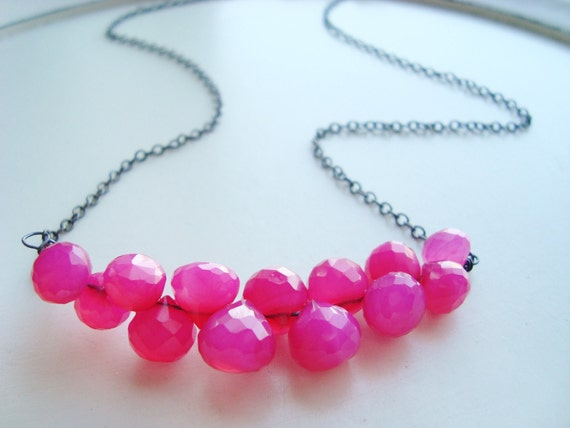 Pink Chalcedony Necklace Wire Wrapped on Oxidized Silver Chain, Hot Pink, Coral Pink Necklace, Wire Wrapped Necklace