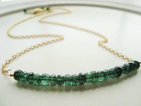 Emerald Green Necklace, Green Gemstone, Wire Wrapped, Gold, Simple, Green Necklace, Luxury