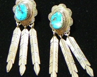 Vintage Sterling and Turquoise Earrings (item 1007)