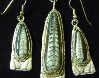 Sterling Mounted Fossil Pendant and Earrings (706-J)