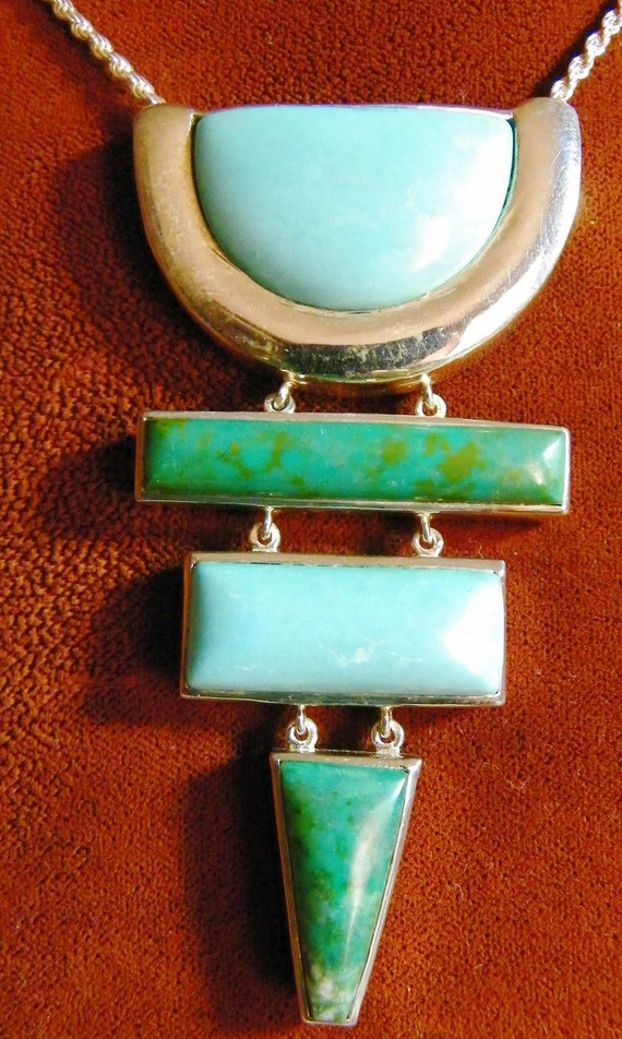 Turquoise and  Chrysocolla Four Drop Sterling Silver Necklace Free Shipping