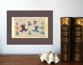 Frog Meeting Art Print on Antique 1896 Dictionary Book Page
