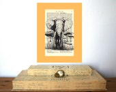 Elephant Vintage Art Print on Antique 1896 Dictionary Book Page