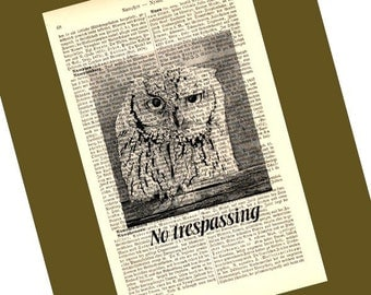 No Trespassing Illustration Print on Antique 1896 Dictionary Book Page  FREE WORLDWIDE SHIPPING