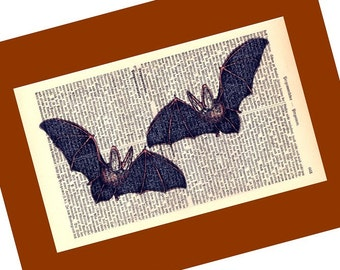 Small Batmeeting Illustration Print on Antique 1896 Dictionary Book Page  FREE WORLDWIDE SHIPPING