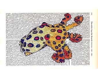 Art Print Red Eye Octopus on Antique 1896 Dictionary Book Page