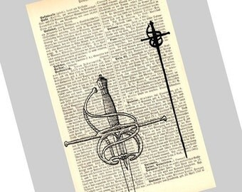 Fencing Rapiers Art Print on Antique 1896 Dictionary Book Page