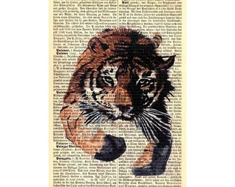 Running Tiger Art Print on Antique 1896 Dictionary Book Page