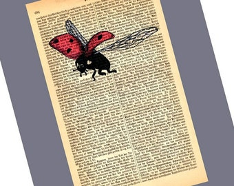 Flying Ladybug small Art Print on Antique 1896 Dictionary Book Page