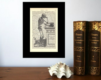 Thinking Skeleton Vintage Art Print on Antique 1896 Dictionary Book Page