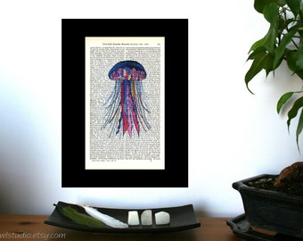 Colorful Jellyfish Illustration  Print on Antique 1896 Dictionary Book Page